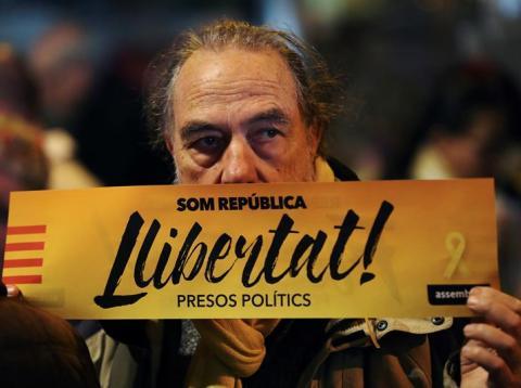 Manifestación por la libertad de Oriol Junqueras