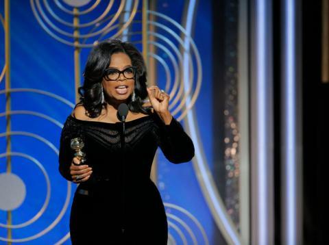 Oprah Winfrey en un momento de su discurso de los Globos de Oro 2018.