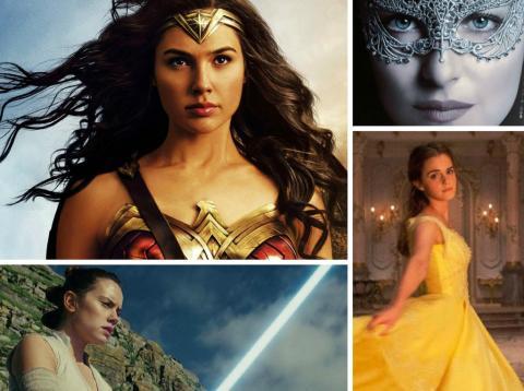 Algunas de las actrices protagonistas del cine en 2017: Gal Gadot (Wonder Woman), Dakota Johnson (50 Sombras Más Oscuras), Daisy Ridley (Star Wars: Los últimos Jedi) y Emma Watson (La Bella y Bestia)