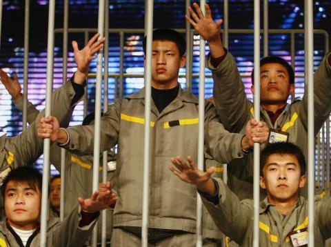 Una protesta con presos en China.