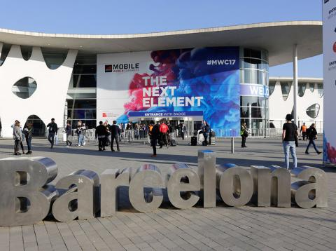 Entrada a la Fira de Barcelona para el Mobile World Congress
