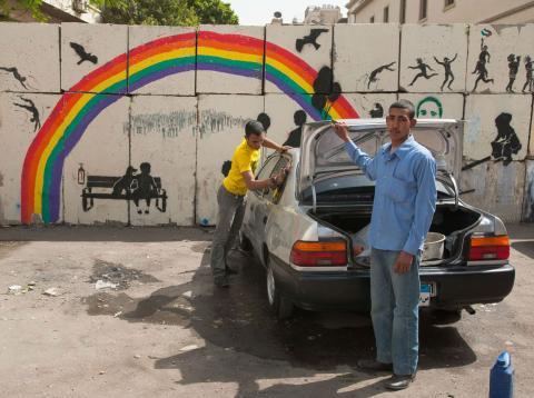 Una escena en las calles de Egipto.