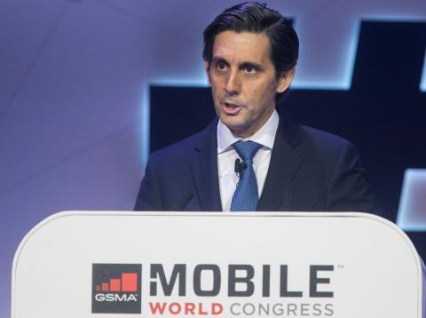 José María Álvarez-Pallete en el MWC de Barcelona de 2018.