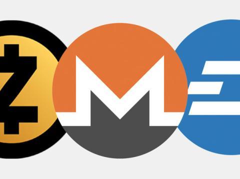 Estos son los logos de Zcash, Monero y Dash, las tres criptomonedas que la policía ha asociado con la criminalidad ante 'Business Insider'.