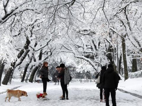 Gente caminando por los alrededores de la Villa Borghese en Roma, tras una inusual tormenta de nieve.