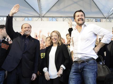 Silvio Berlusconi, Giorgia Meloni y Matteo Salvini