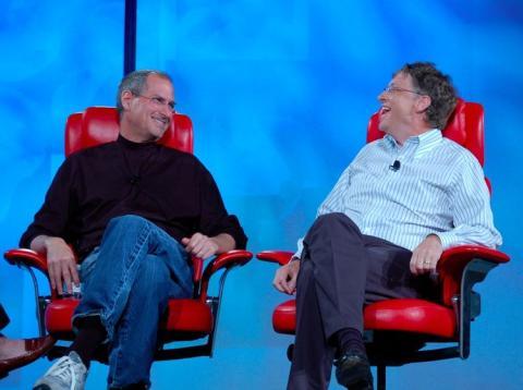 Steve Jobs y Bill Gates en 2007