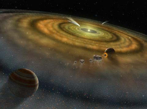 An artist's concept of a newly formed planetary system.