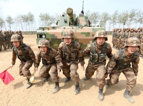 Tropas del Ejército de Liberación Popular de China.