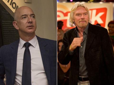 Jeff Bezos, fundador de Amazon, y Richard Branson, fundador de Virgin