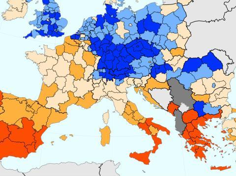 Mapa del desempleo regional en Europa