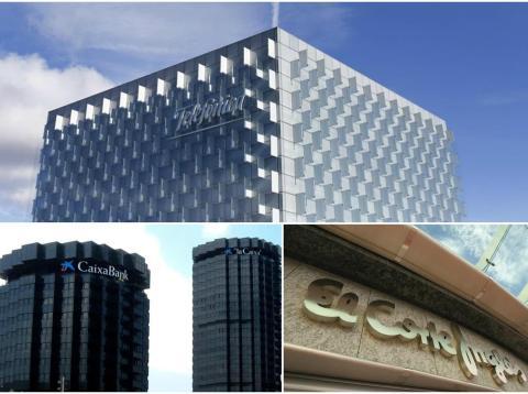 Telefónica, El Corte Inglés y Caixabank