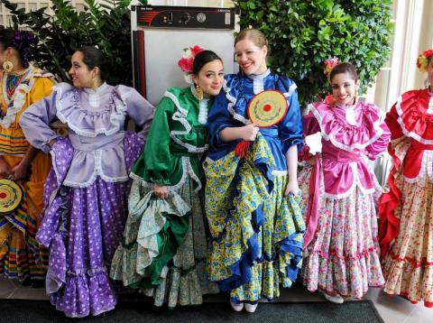 Dancers of the Ballet Folklorico Mexicano before performing at the White House on May 3, 2012.