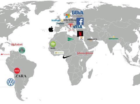 Mapamundi con logos de empresass