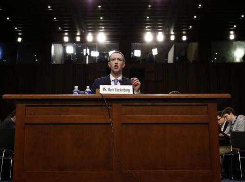 Mark Zuckerberg testifying before Congress.