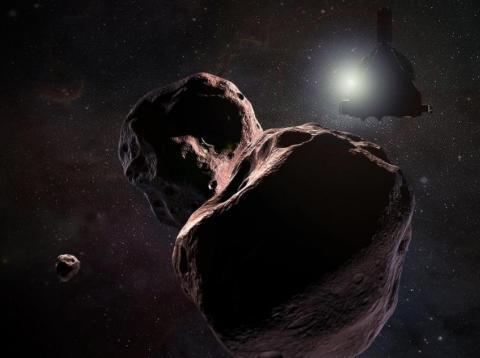 Ilustración de New Horizons visitando 2014 MU69 [RE]