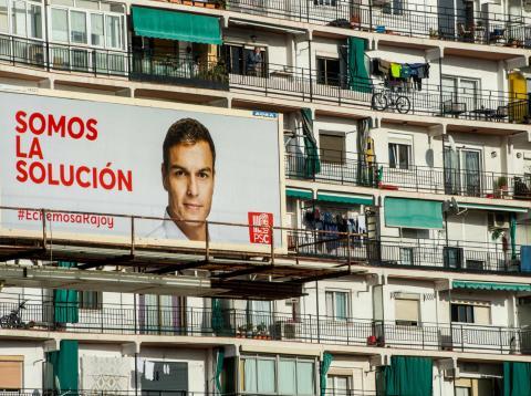 Una imagen de la campaña electoral del PSOE en Barcelona en 2015.