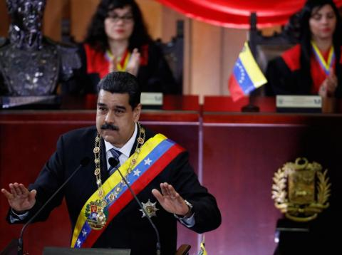 Venezuela's President Nicolas Maduro gestures as he speaks during a ceremony to mark the opening of the judicial year at the Supreme Court of Justice (TSJ) in Caracas, Venezuela February 14, 2018.