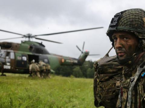 A British Parachute Regiment soldier at a joint training exercise in Germany in June 2016.