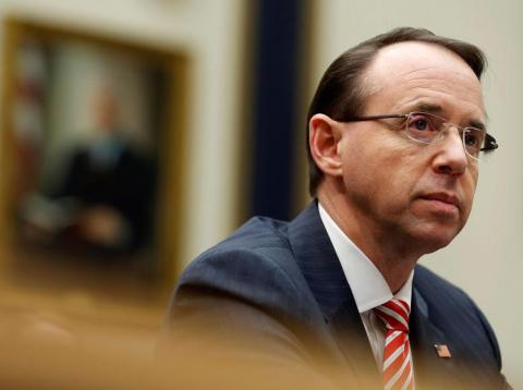 Deputy attorney general Rod Rosenstein testifies to the House Judiciary Committee hearing on oversight on Capitol Hill, December 13, 2017.