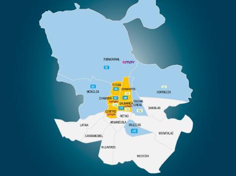 mapa del uso del coche compartido en Madrid