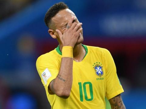 Neymar looking anguished during Brazil's World Cup quarter-finals match against Belgium.