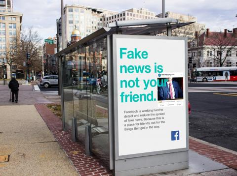 """Facebook began advertising against """"Fake news"""" soon after news broke that Russian agents had been manning misinformation campaigns on its platform."""