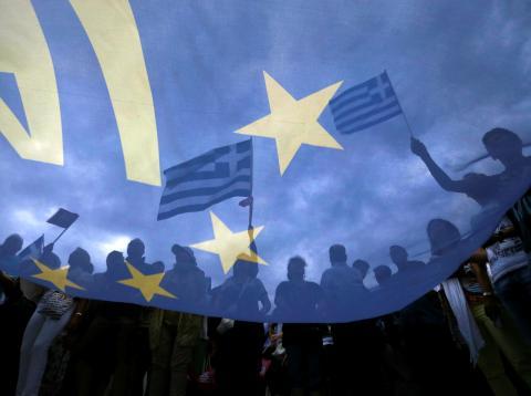 Bandera de Europa en Grecia