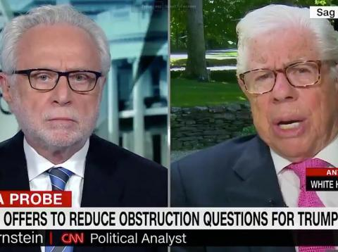 CNN anchor Wolf Blitzer (left) and investigative journalist Carl Bernstein (right).