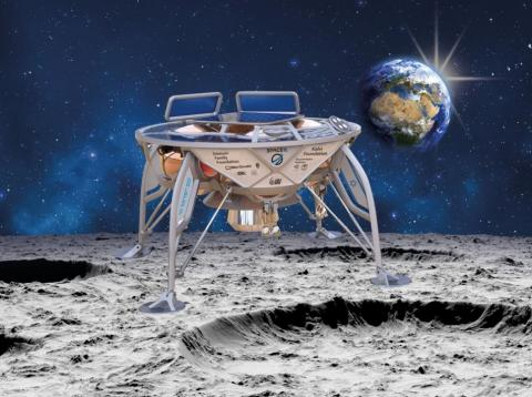 "An illustration of ""Sparrow,"" a 1,300-lb robotic lunar lander that could make Israel the fourth country ever to touch the moon's surface."