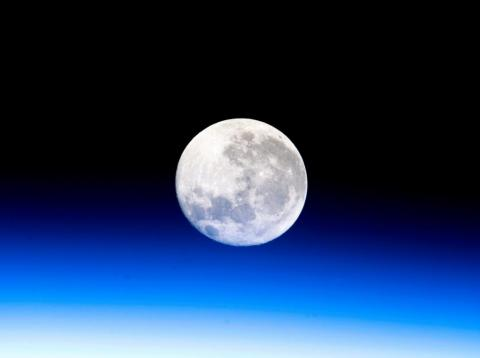 The moon as seen by astronauts in space.