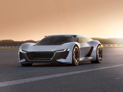 The new Audi PB18 e-tron concept electric sports car.