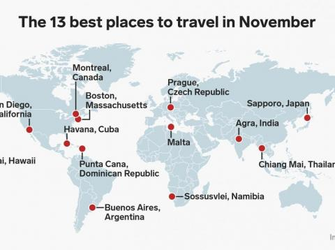 13 places to visit in November for every type of traveler