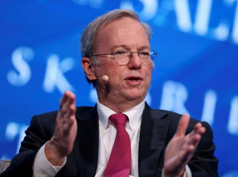 Alphabet executive chairman Eric Schmidt speaks at the 2017 SALT conference in Las Vegas.