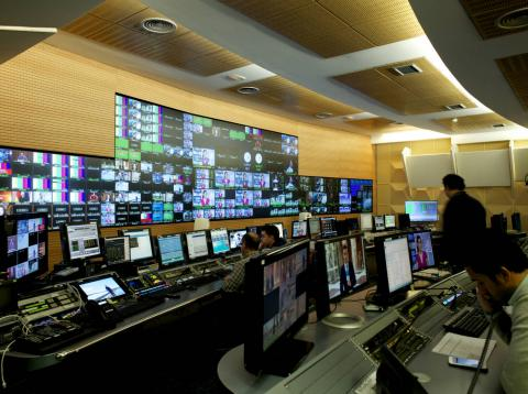 Control central en Mediaset en Madrid.
