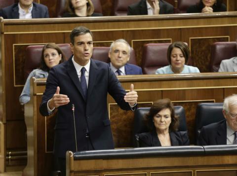 Pedro Sánchez, durante una sesión en el Congreso