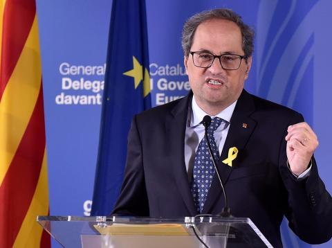 El presidente de la Generalitat catalana, Quim Torra, en Bruselas, el 28 de julio de 2018.