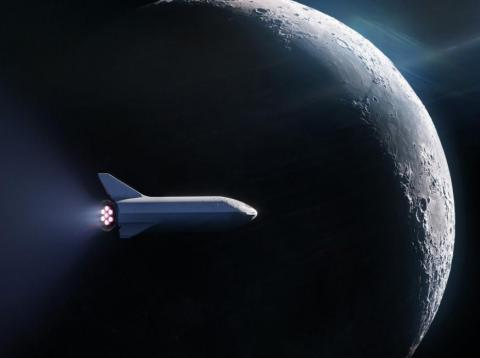 SpaceX's rendering of a Big Falcon Rocket spaceship carrying a passenger around the moon.