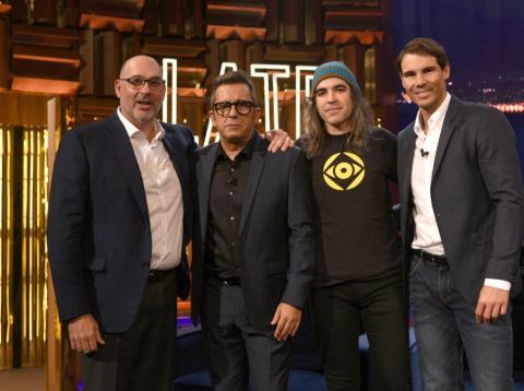 Emilio Gayo, presidente de Telefónica España; el presentador Andreu Buenafuente; Chema Alonso, CDO de Telefónica y el tenista Rafa Nadal en la presentación de Movistar Home.
