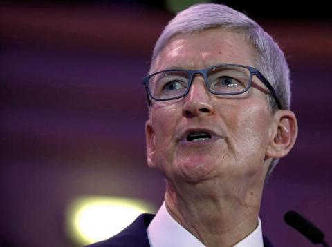 El CEO de Apple, Tim Cook,  en la conferencia sobre ciberseguridad de la Unión Europea en Bruselas [RE]