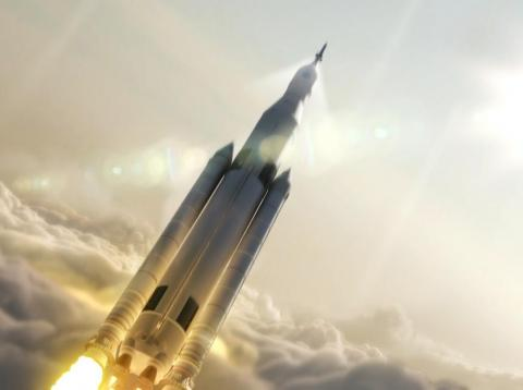 An artist's depiction of NASA's Space Launch System rocketing a crew toward orbit.