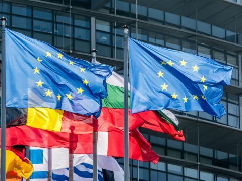 Banderas de la Unión Europea en la fachada de la Eurocámara en Estrasburgo