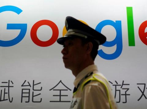 Google's secretive plans to launch a censored search engine in China are still bubbling away. Here, a Google sign is seen during a conference in Shanghai in August 2018.