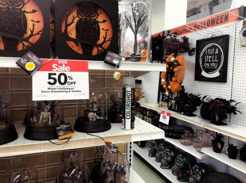 Halloween and fall decor were all at the front of the store, and everything was on sale for 50% off.