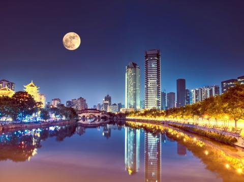 Luna llena en ciudad china