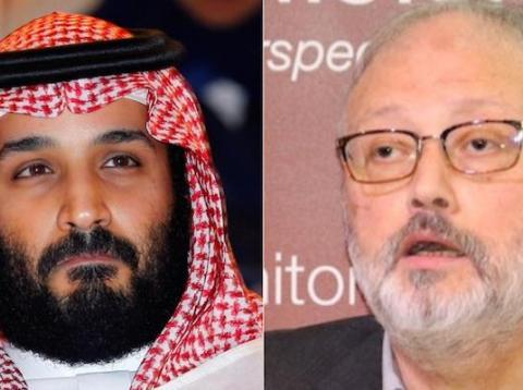 A composite image of Saudi Crown Prince Mohammed bin Salman and Jamal Khashoggi.