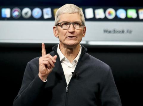 Tim Cook, CEO of Apple, which is due to report its fiscal first-quarter results Tuesday afternoon.