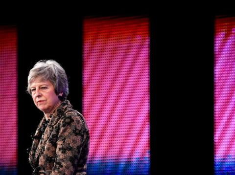 Britain's Prime Minister Theresa May replies to questions after speaking at the Confederation of British Industry's (CBI) annual conference in London, Britain, November 19, 2018.