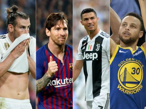 Gareth Bale, Leo Messi, Cristiano Ronaldo y Stephen Curry.