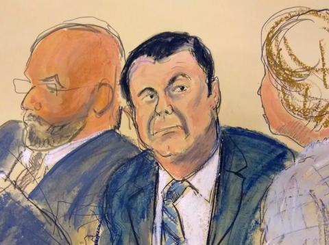 """Joaquin """"El Chapo"""" Guzman, center, sits next to his defense attorney Eduardo Balarezo, left, for opening statements in a courtroom sketch as his trial in the Brooklyn, New York, November 13, 2018."""